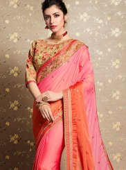 Orange and Pink Festival Faux Georgette Shaded Saree