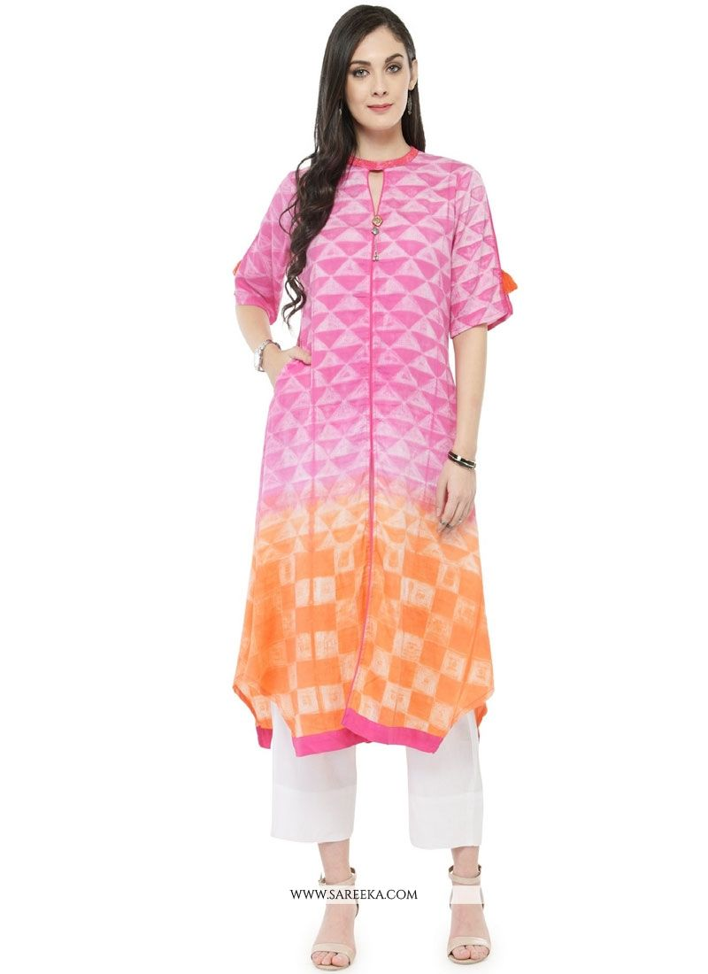 Orange and Pink Party Wear Kurti