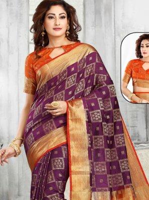 Orange and Purple Party Classic Designer Saree