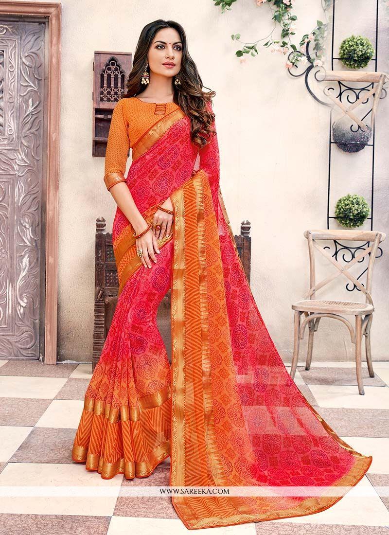 Orange and Red Casual Saree