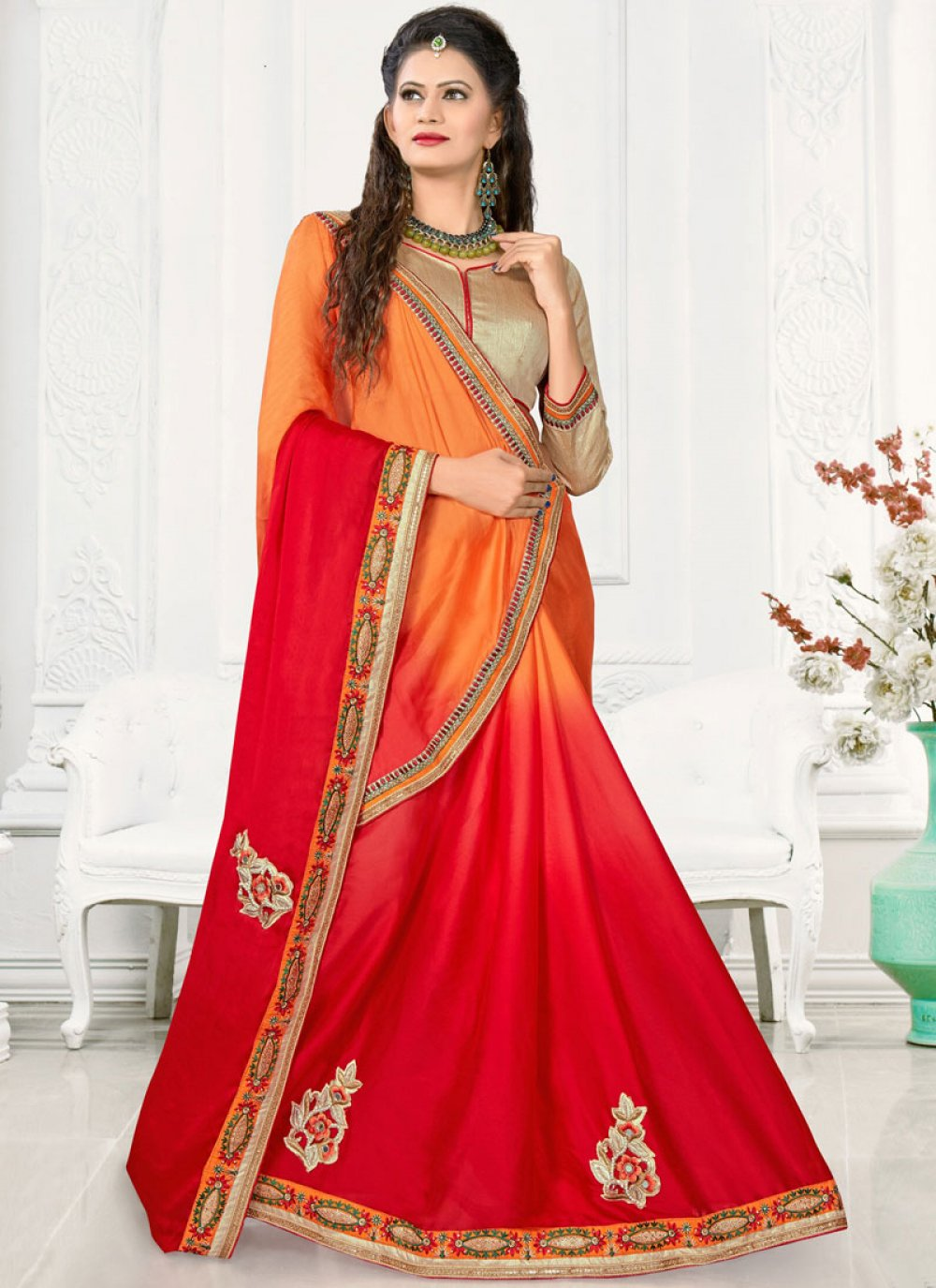 Orange and Red Patch Border Work Satin Silk Shaded Saree
