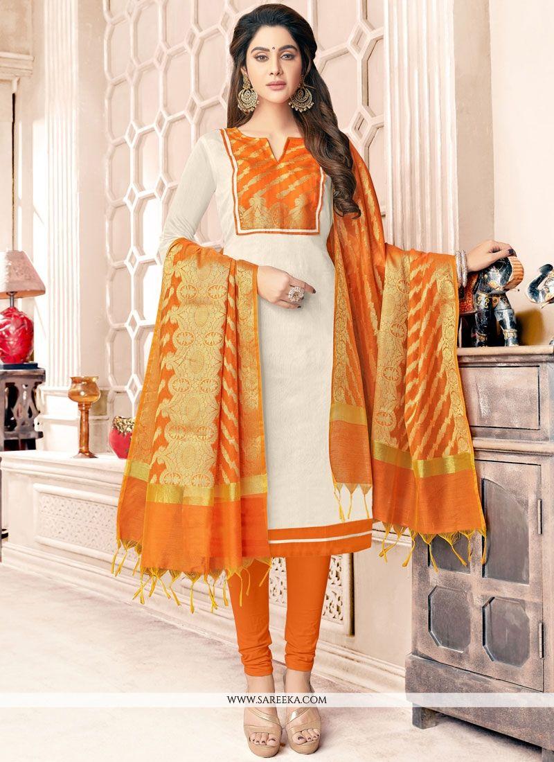 Orange and White Resham Work Cotton   Salwar Kameez