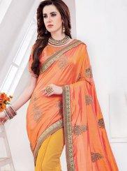 Orange and Yellow Half N Half Trendy Saree