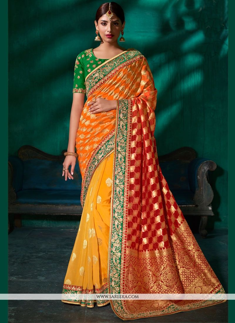Orange and Yellow Patch Border Work Viscose Shaded Saree
