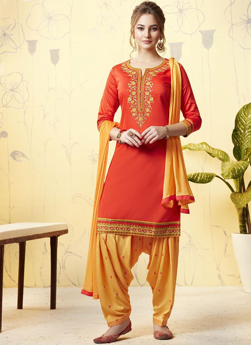Orange and Yellow Satin Patiala Salwar Suit