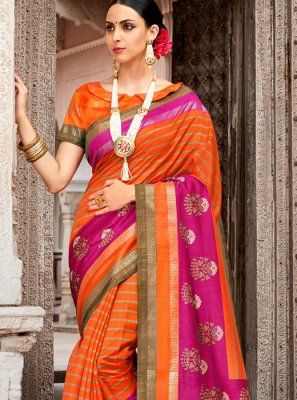 Orange Art Silk Party Traditional  Saree