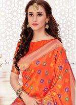 Orange Art Silk Traditional  Saree