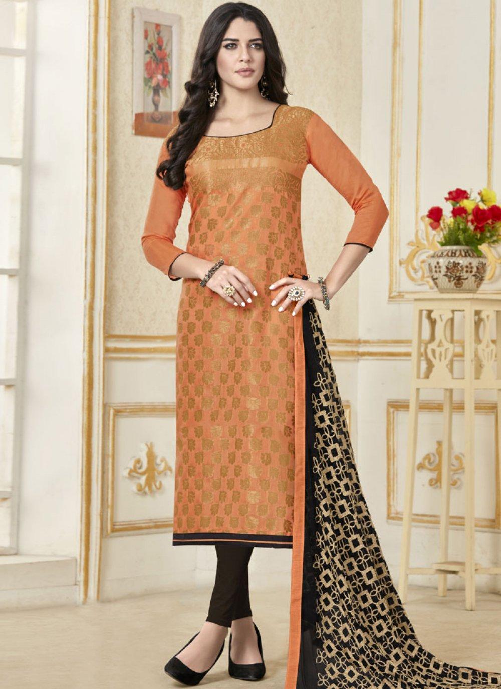 Orange Banarasi Silk Casual Churidar Salwar Suit