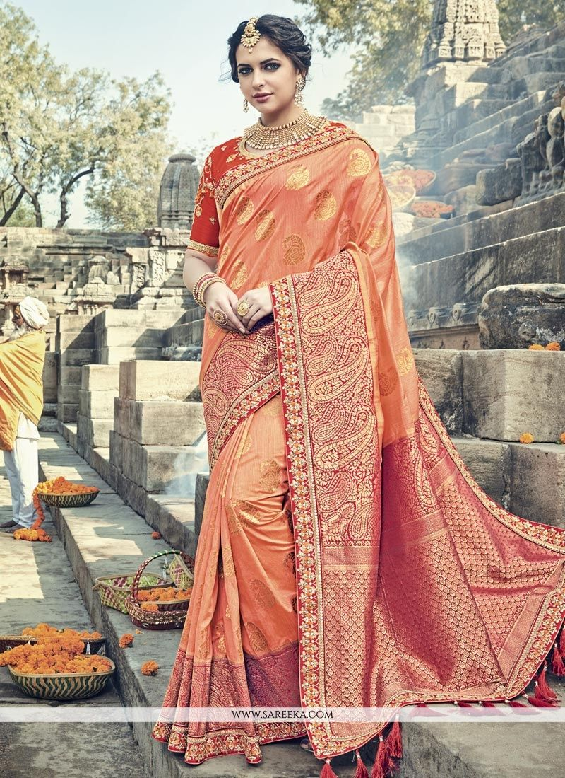 Orange Banarasi Silk Designer Traditional Saree