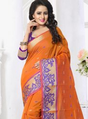 Orange Banarasi Silk Silk Saree
