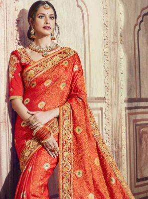 Orange Banarasi Silk Zari Classic Saree