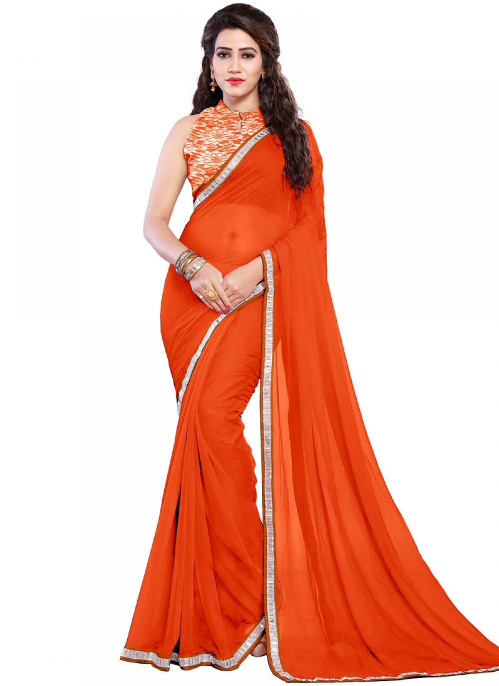 Orange Casual Casual Saree