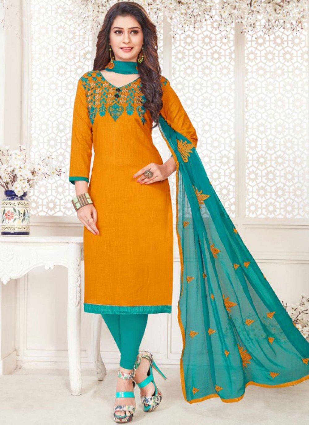Orange Casual Cotton   Churidar Suit