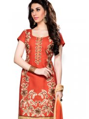 Orange Churidar Designer Suit