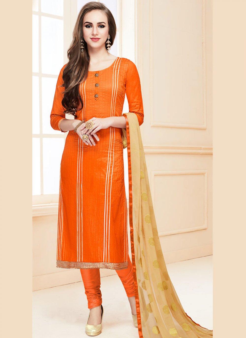 Orange Cotton   Designer Suit