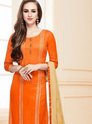 Orange Cotton   Designer Suit
