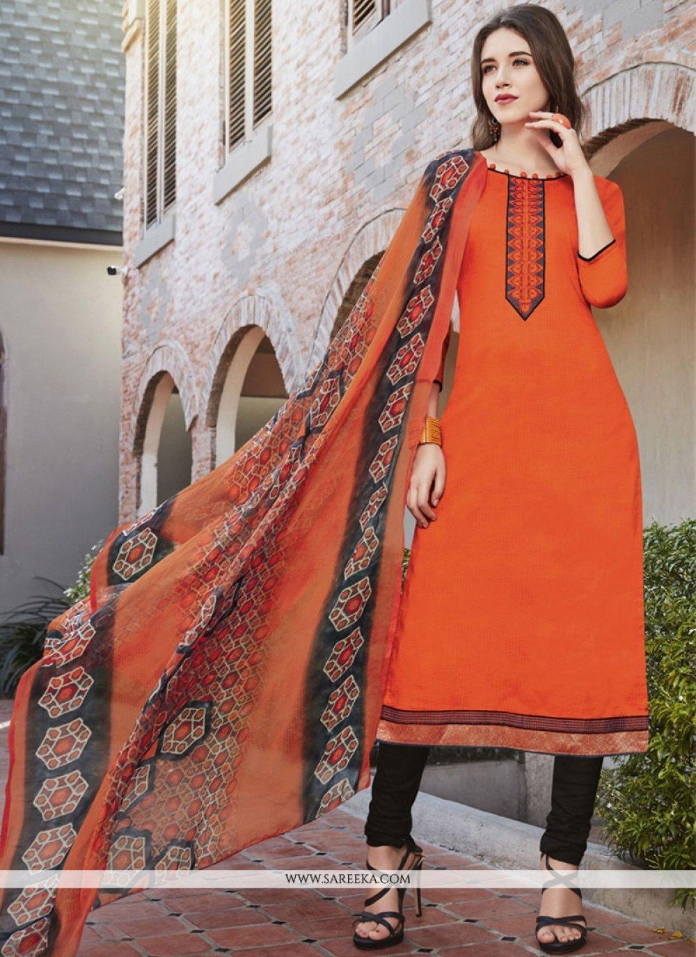 Orange Cotton Satin Churidar Suit