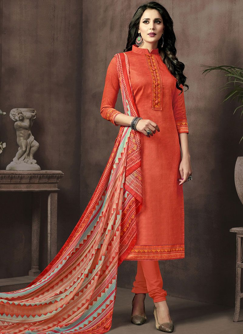 Orange Cotton Satin Churidar Suit