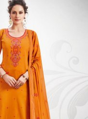 Orange Cotton Silk Festival Designer Palazzo Salwar Suit