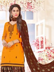 Orange Embroidered Cotton   Salwar Suit