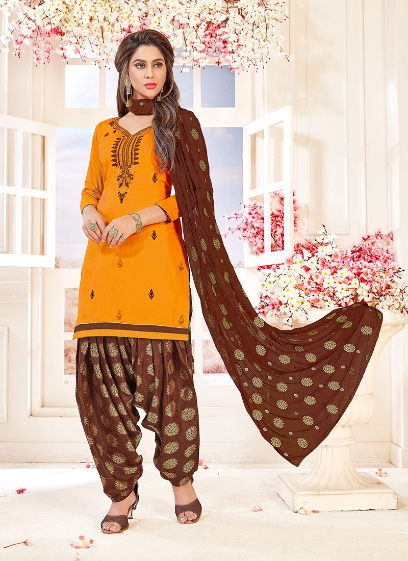 Orange Embroidered Cotton   Salwar Suit