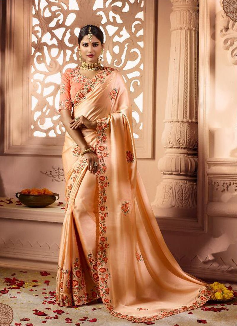 f36f999862 Buy Orange Embroidered Fancy Fabric Classic Saree Online -