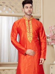 Orange Embroidered Sangeet Kurta Pyjama