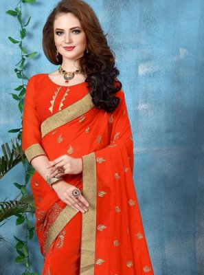 Orange Georgette Classic Saree