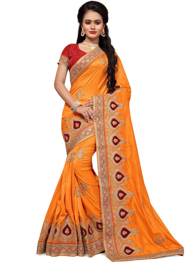 Orange Handwork Work Silk Traditional  Saree