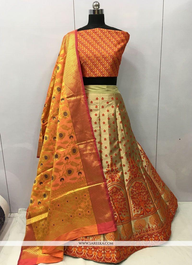 Orange Jacquard Silk Lehenga Choli