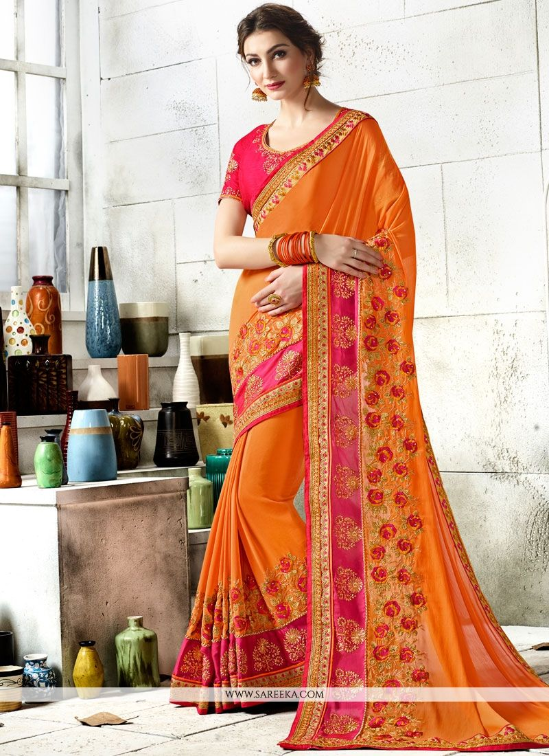 Orange Patch Border Work Art Silk Classic Designer Saree