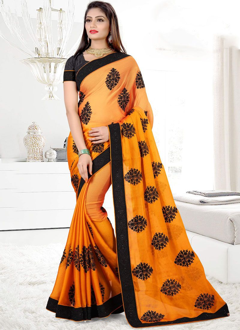 Orange Patch Border Work Faux Chiffon Classic Designer Saree