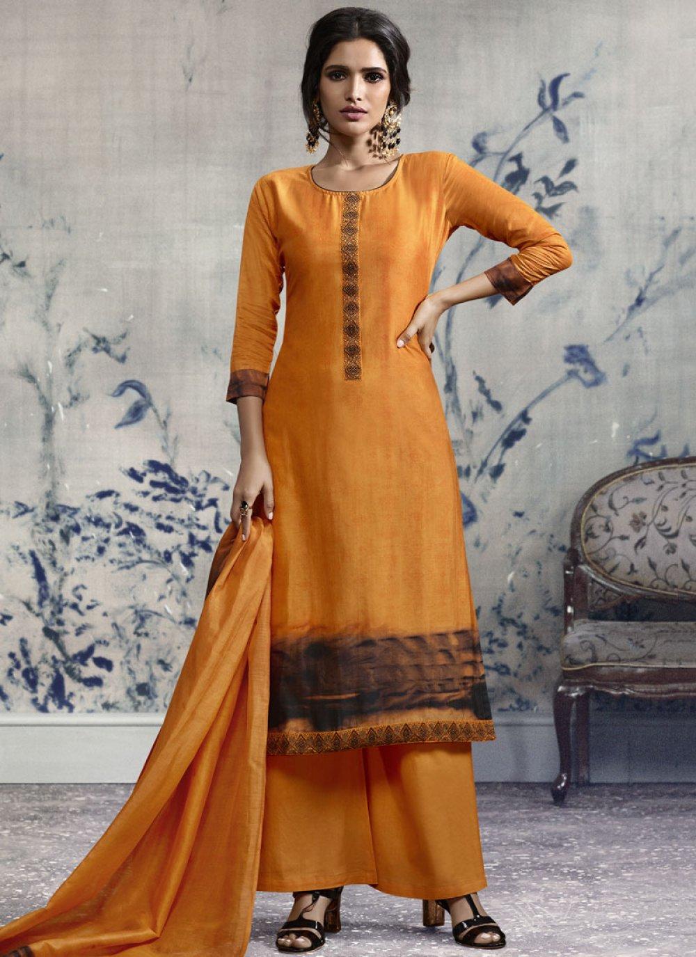 Orange Print Designer Palazzo Suit