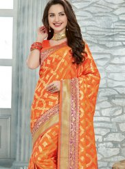 Orange Printed Wedding Designer Saree