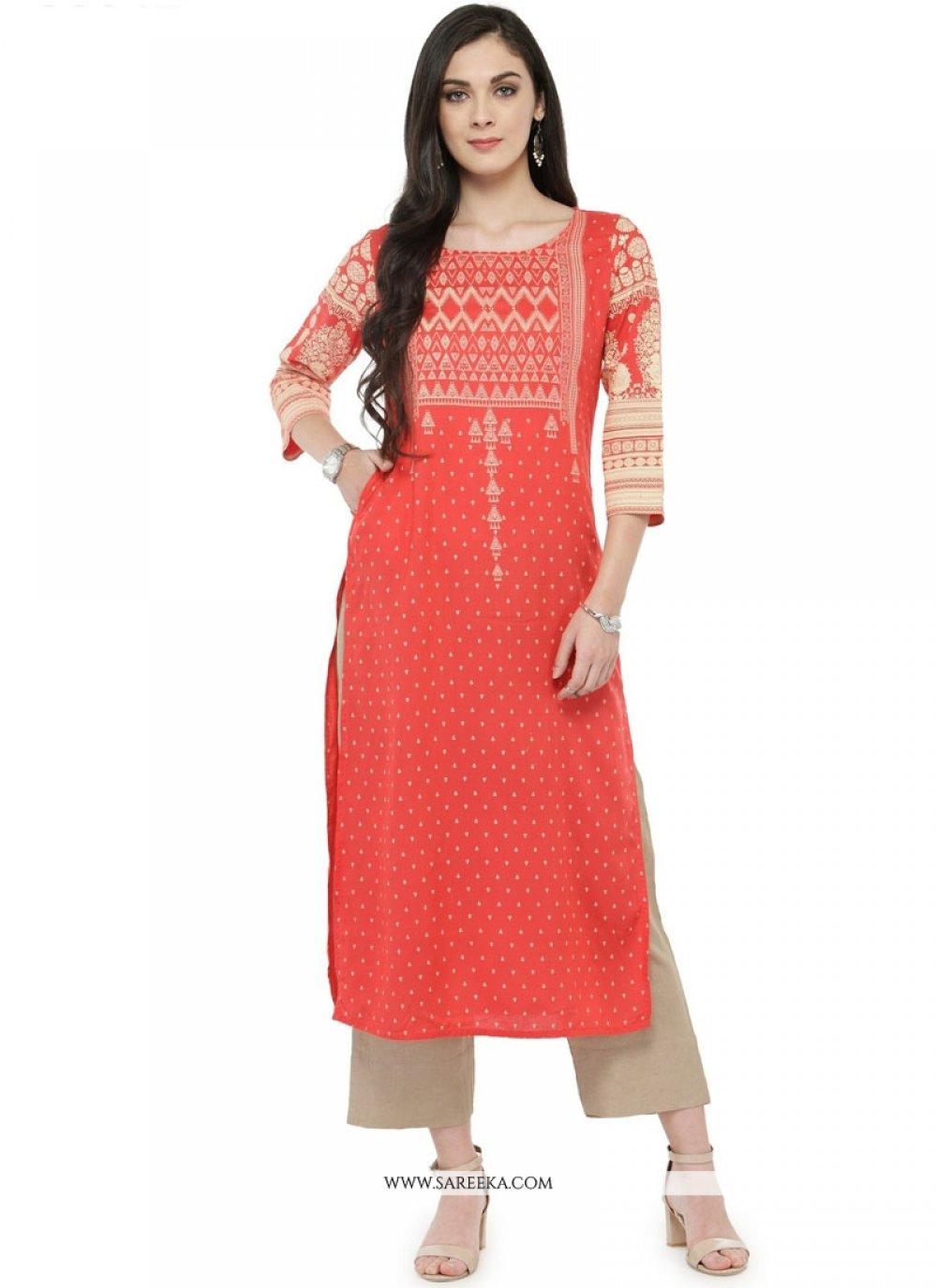 Orange Rayon Party Wear Kurti