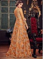 Orange Reception Fancy Fabric Floor Length Anarkali Suit