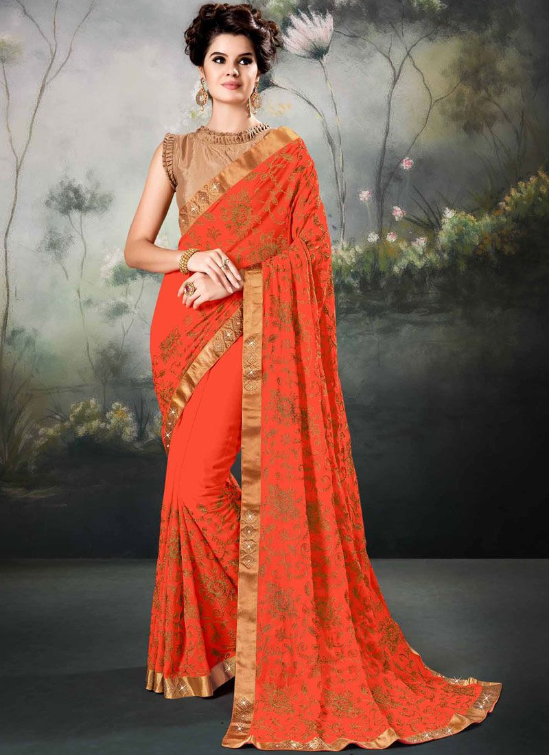 8771d03a1 Orange Resham Faux Georgette Saree buy online -