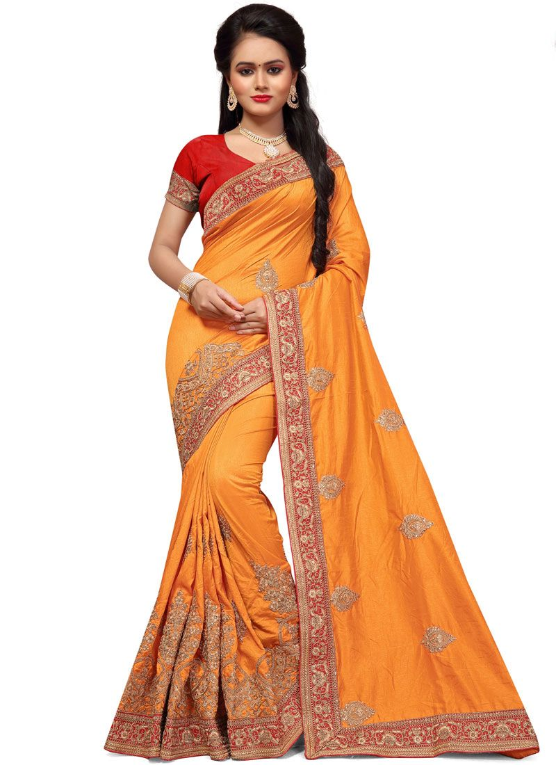 Orange Resham Work Art Silk Designer Traditional Saree
