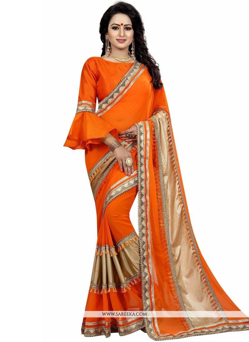 Orange Traditional Designer Saree