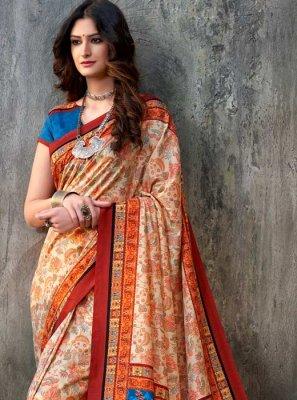 Orange Tussar Silk Trendy Saree