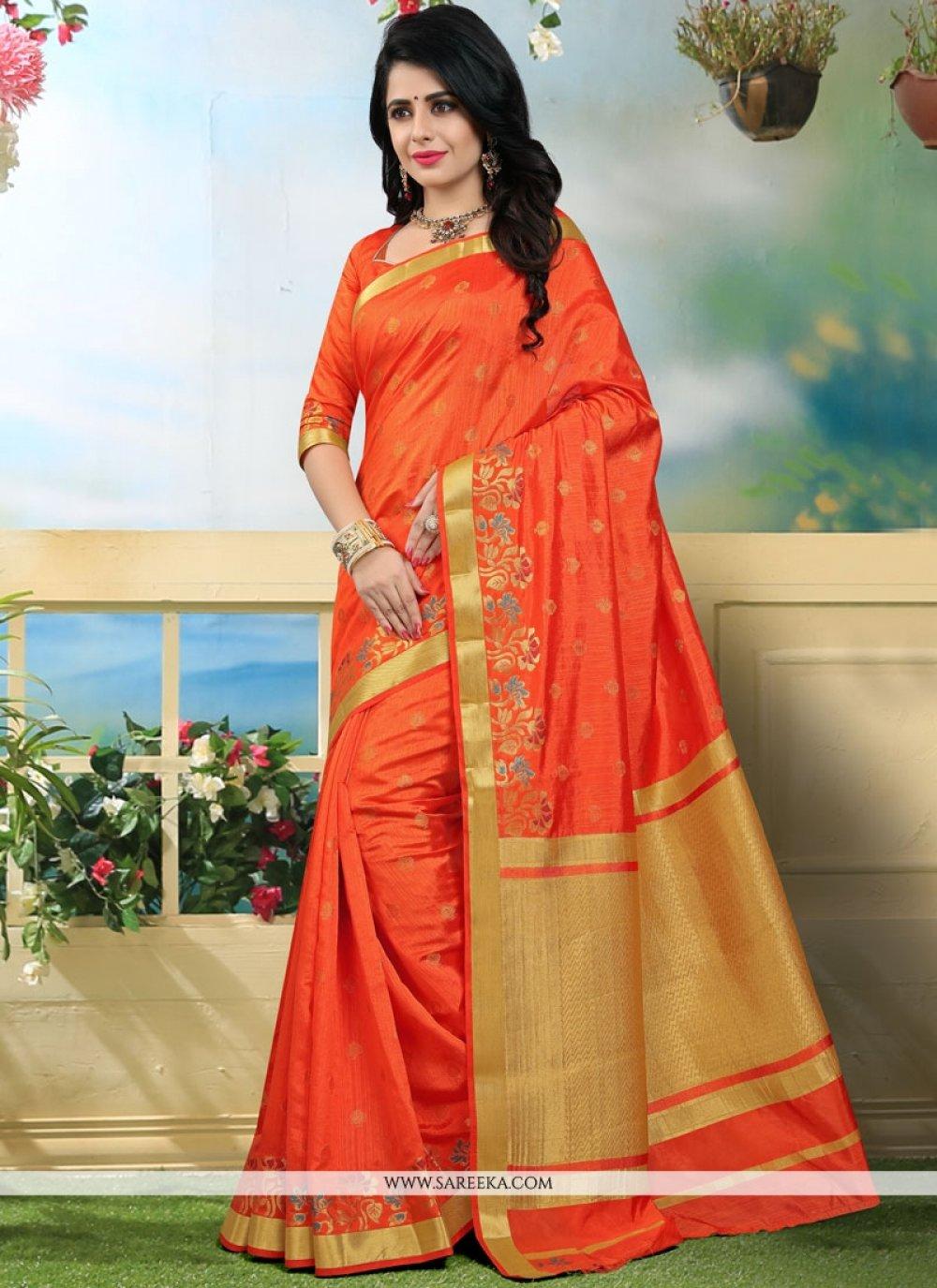 Orange Weaving Work Art Silk Traditional Designer Saree
