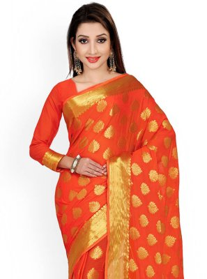 Orange Weaving Work Classic Designer Saree