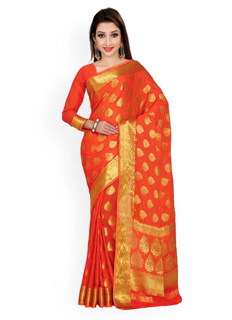 Orange Weaving Work Classic Designer Saree