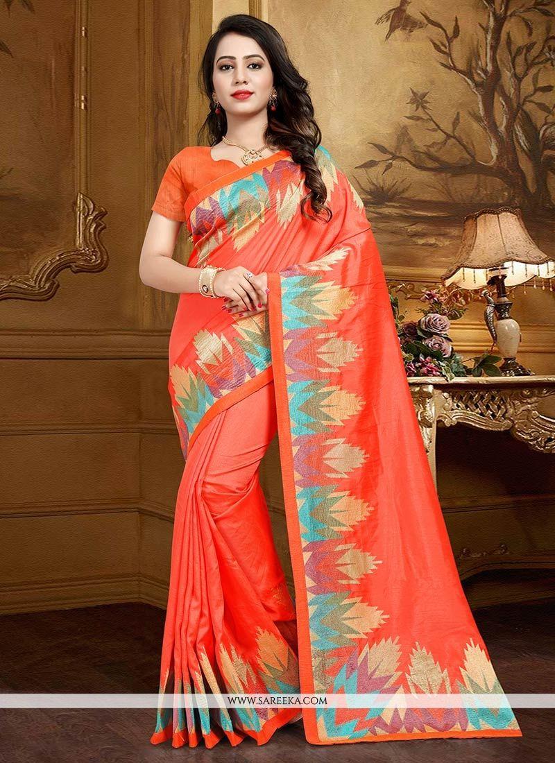 Orange Weaving Work Designer Traditional Saree