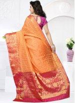 Orange Weaving Work Traditional Designer Saree