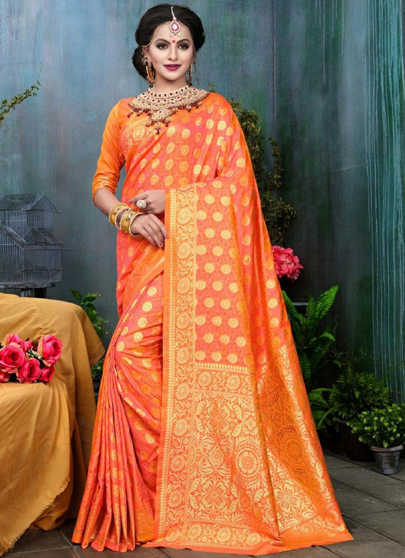 Orange Weaving Work Traditional Designer Saree