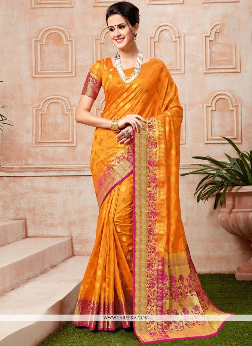Orange Weaving Work Tussar Silk Traditional  Saree