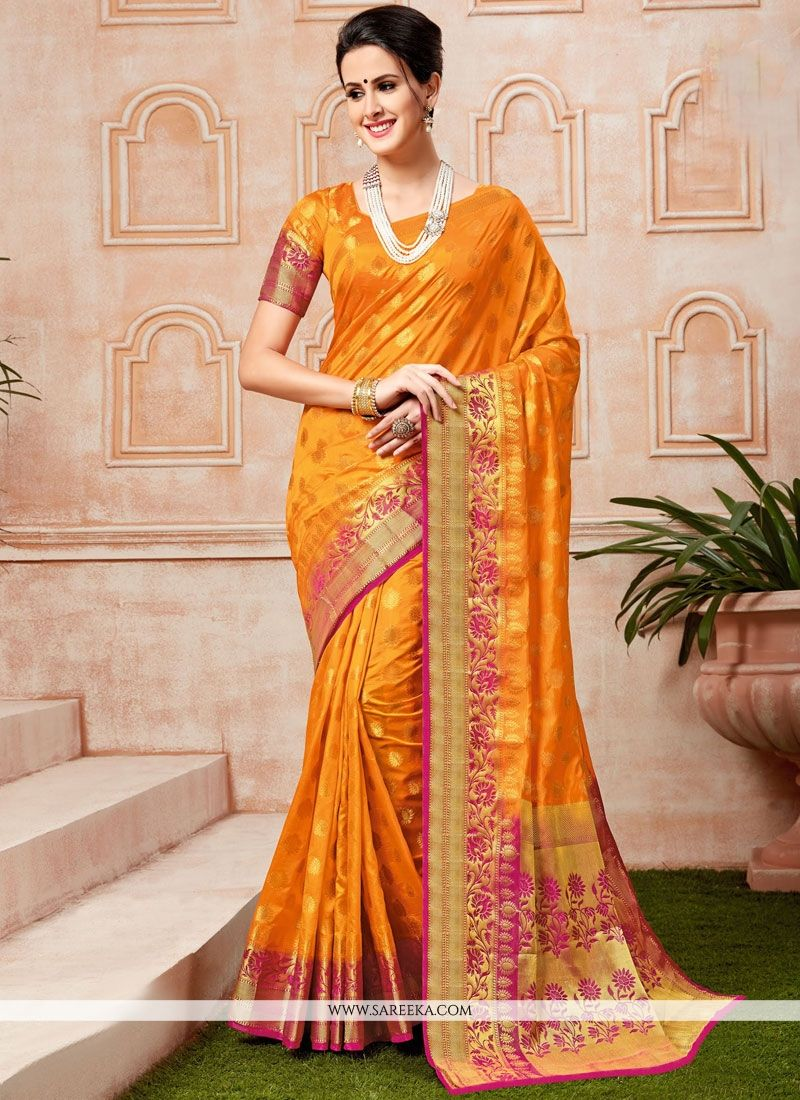 Orange Weaving Work Tussar Silk Traditional  Saree