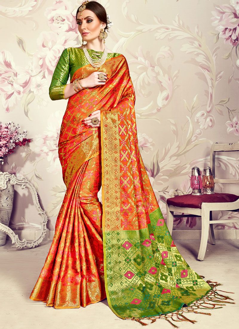 884bc5d701 Orange Wedding Designer Traditional Saree buy online -