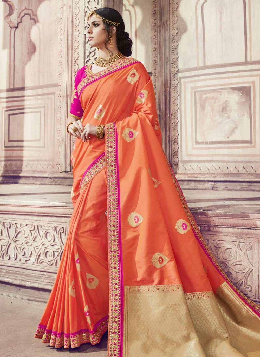 Orange Zari Banarasi Silk Classic Saree